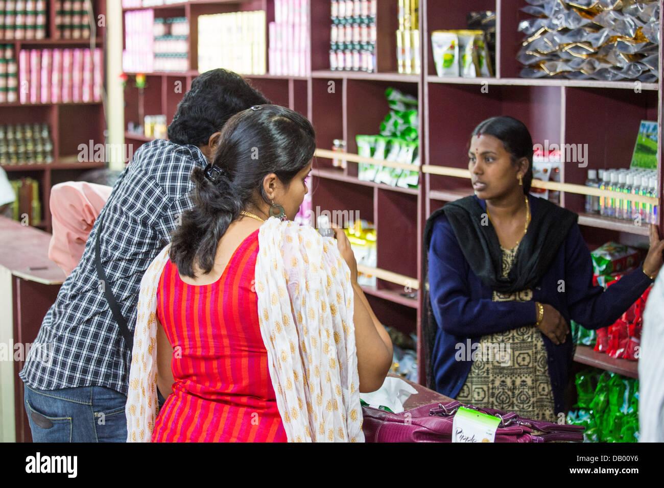 La piantagione di tè factory tour store, Munar, India Immagini Stock