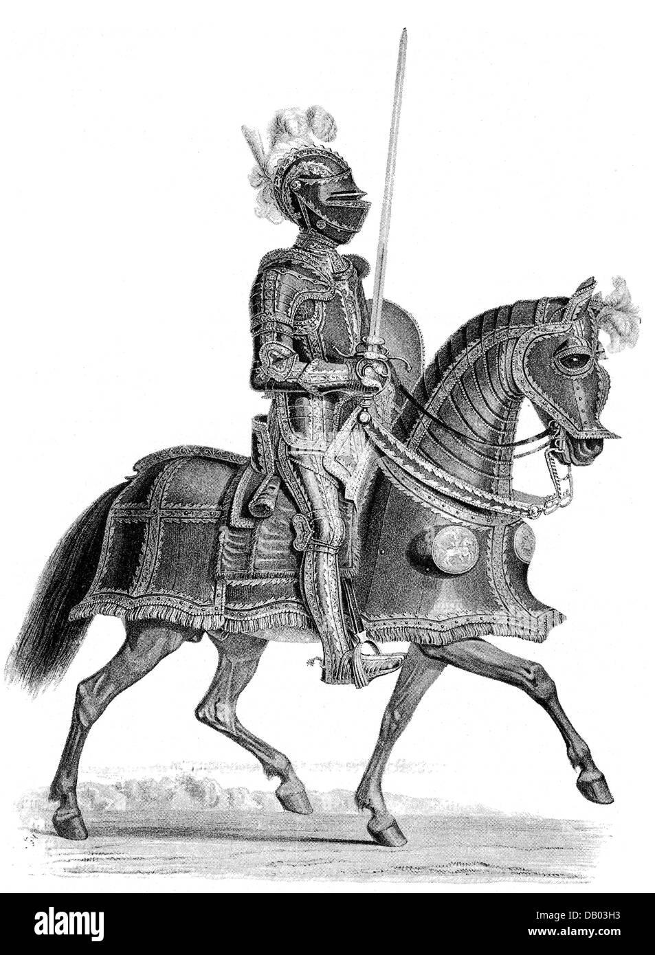 Militari, armi e armature, corazza tedeschi della prima metà del XVI secolo, incisione del XIX secolo, dopo Immagini Stock