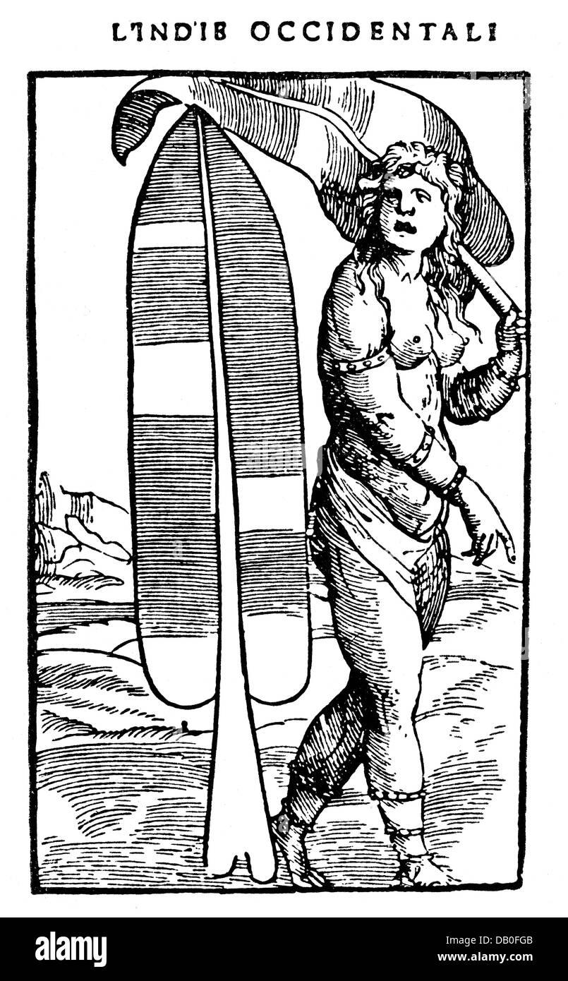 Allegorie, continente, America, xilografia, 'Libro primo del summario della generale le Historia delle Indie Immagini Stock