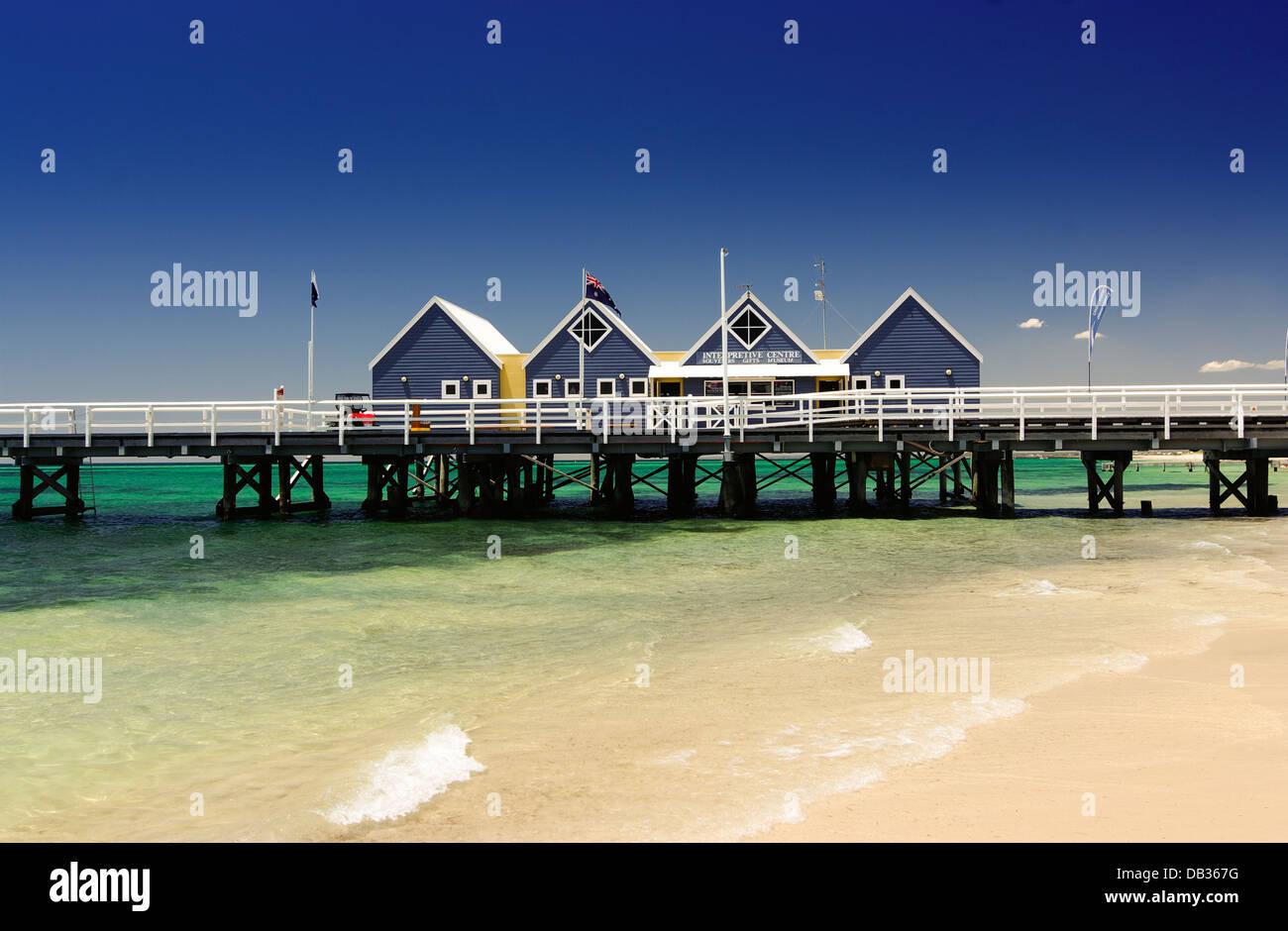 Gli edifici su Busselton Pier, Busselton, Australia occidentale Immagini Stock
