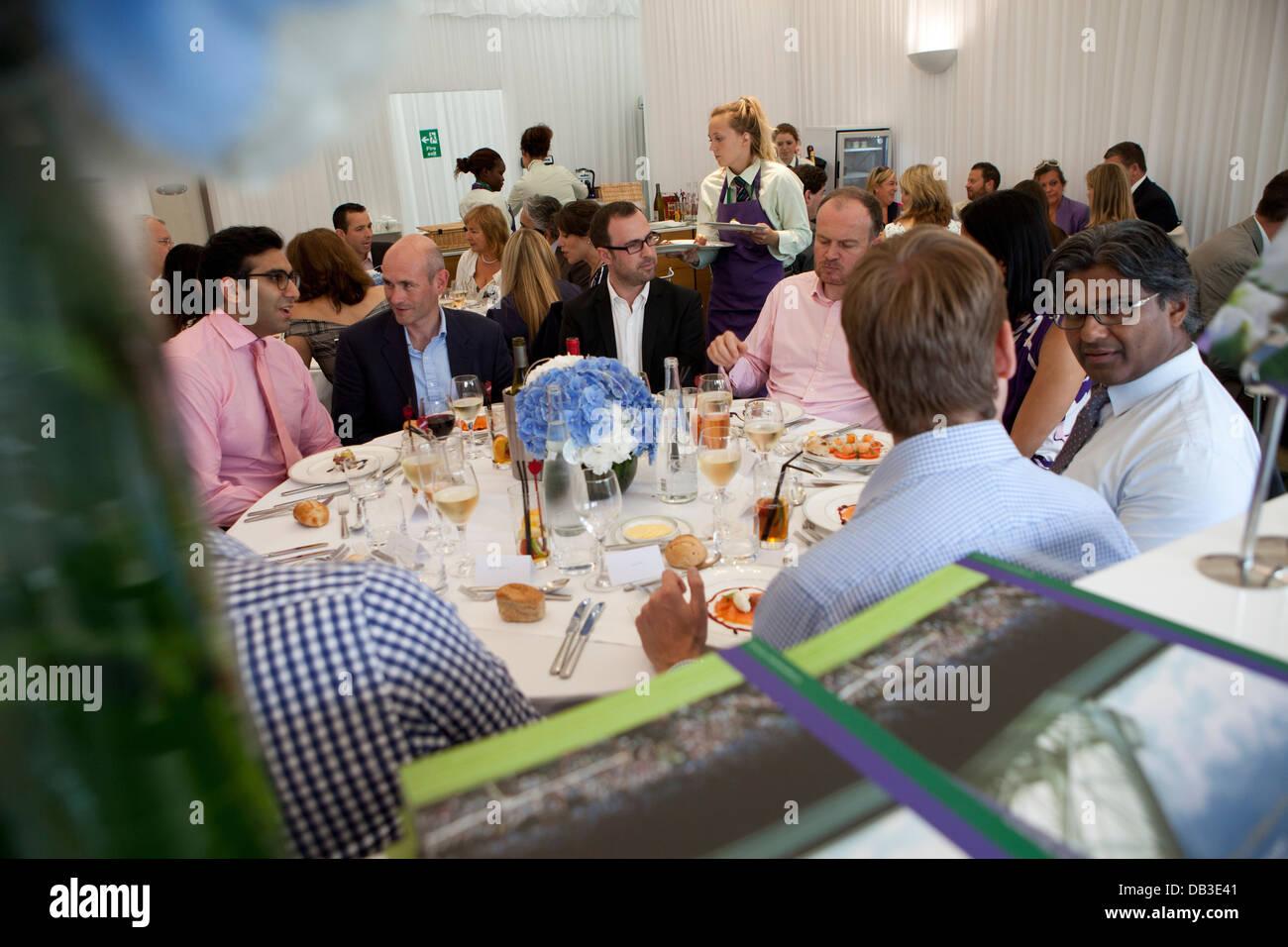 Marquee Corporate Area Hospitality Radisson Hotels i campionati di Wimbledon 2012 Immagini Stock