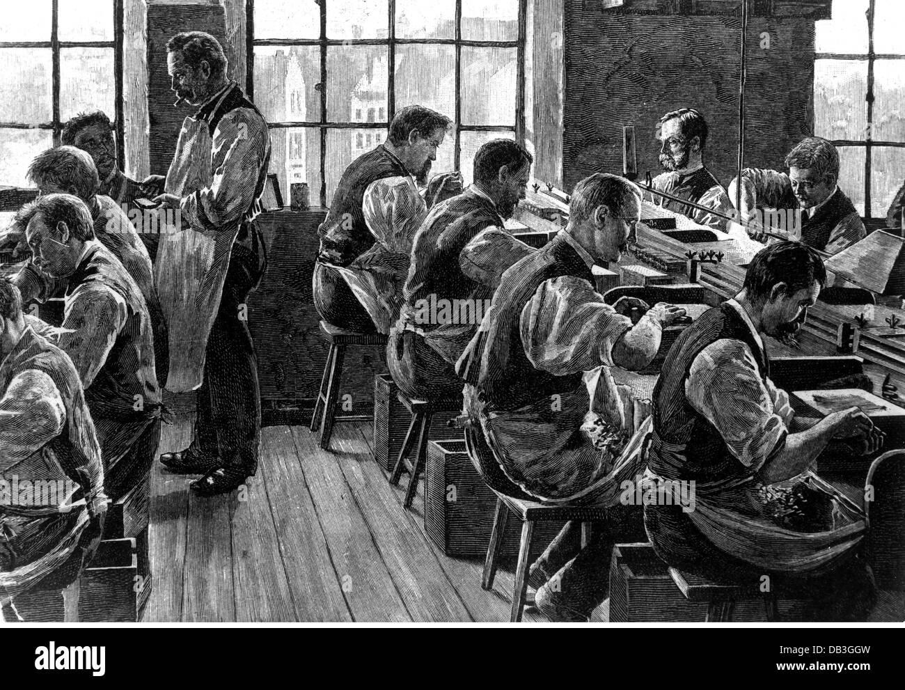 L'industria, il tabacco, il lavoro manuale in una fabbrica di sigari, incisione su legno, 1896, Additional-Rights Immagini Stock
