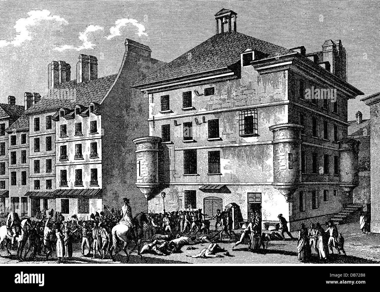 Gli eventi della Rivoluzione Francese 1789 - 1799, Settembre massacri 2.- 6.9.1792, contemporanea incisione su rame Immagini Stock