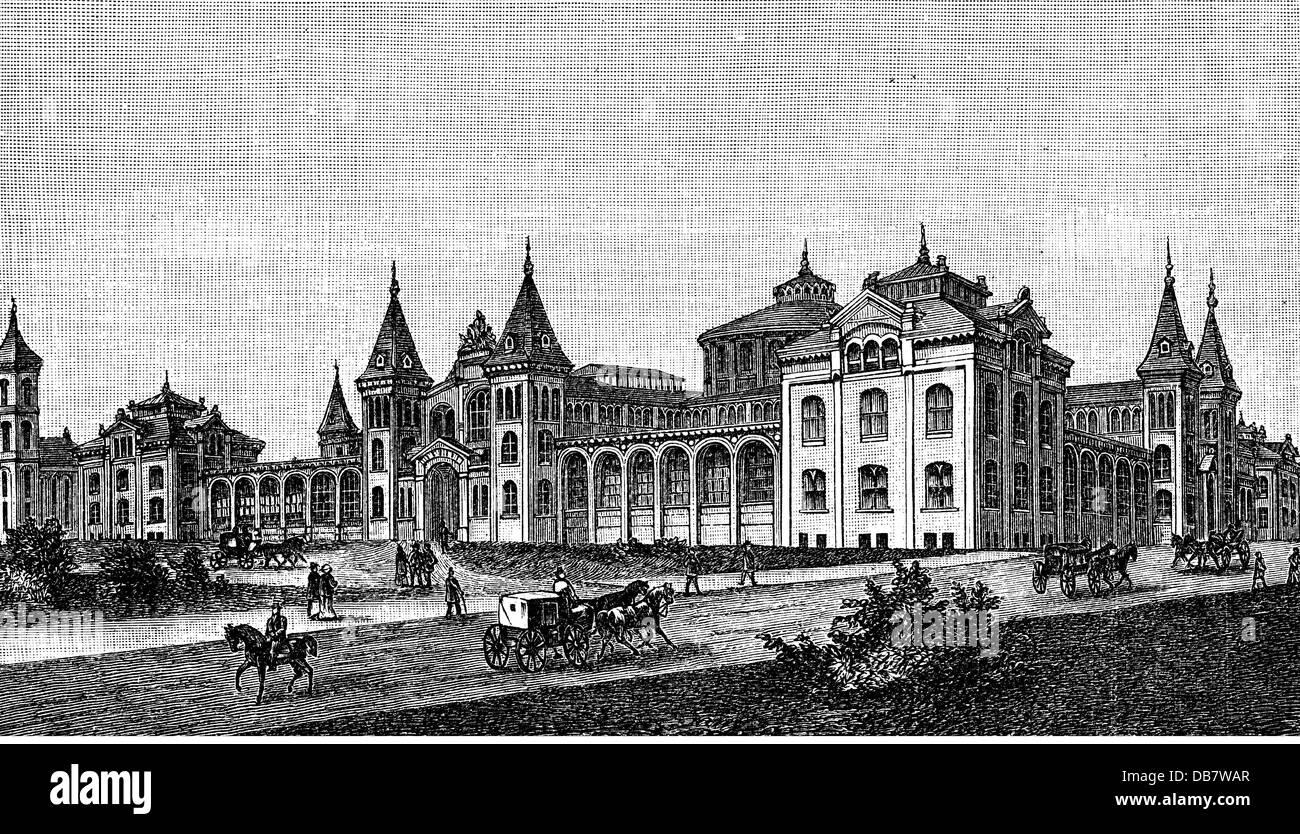 Geografia / viaggi, STATI UNITI D'AMERICA, Washington D.C., musei Smithsonian Institution, vista esterna, incisione Immagini Stock