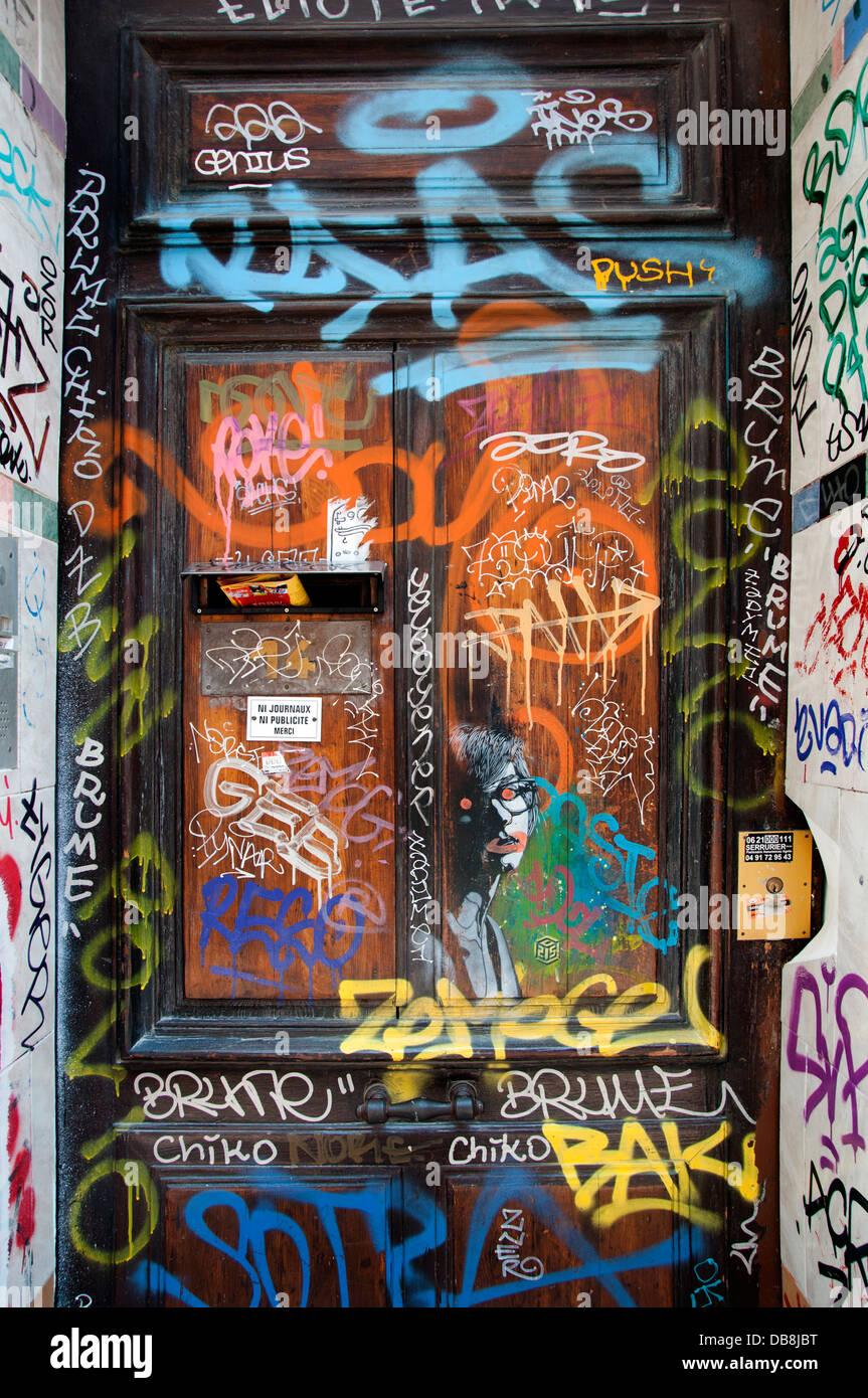 Marsiglia Francia - Francese graffiti murali pittura Immagini Stock