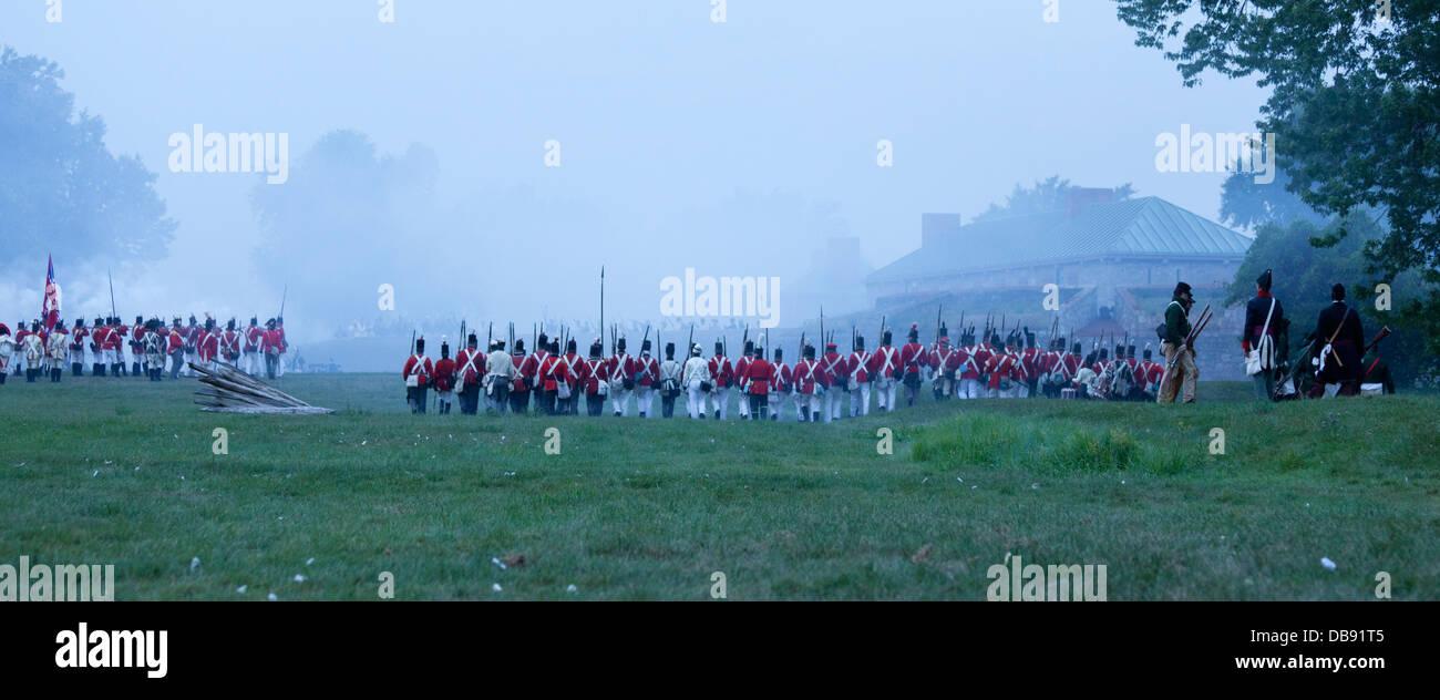 Canada,Ontario,Fort Erie,Old Fort Erie, guerra di 1812 rievocazione dell'Assedio di Fort Erie Immagini Stock