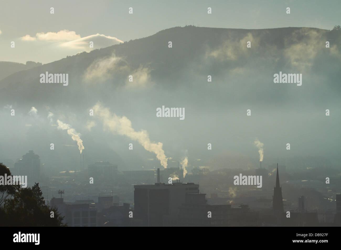 Inquinamento atmosferico, Dunedin, Isola del Sud, Nuova Zelanda Immagini Stock
