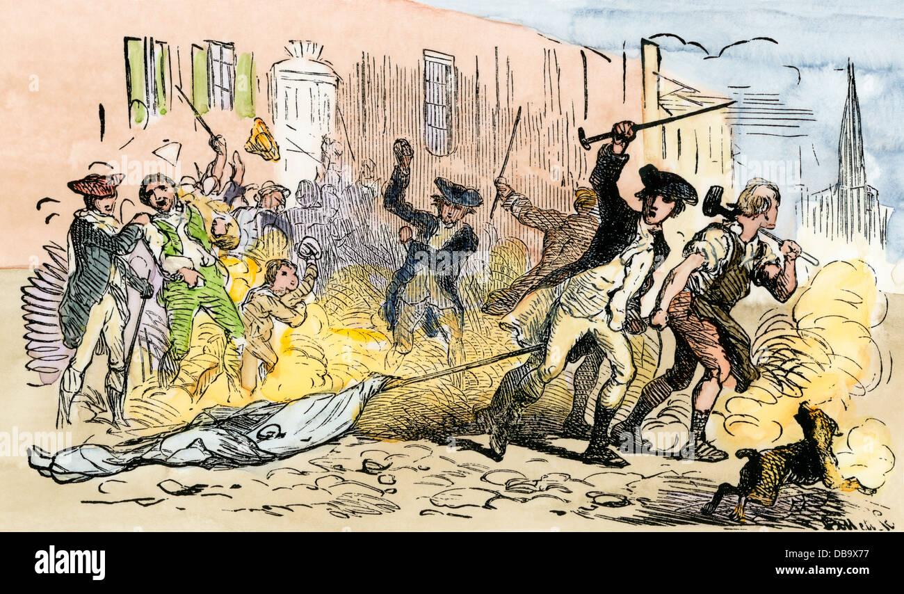 I manifestanti in Charleston SC denunciando Jay Trattato con la Gran Bretagna, 1794. Colorate a mano la xilografia Immagini Stock