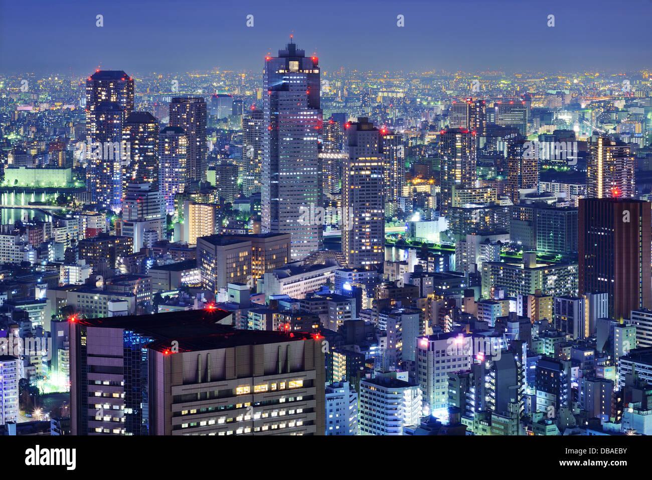 Tsukiji District skyline di Tokyo, Giappone. Immagini Stock