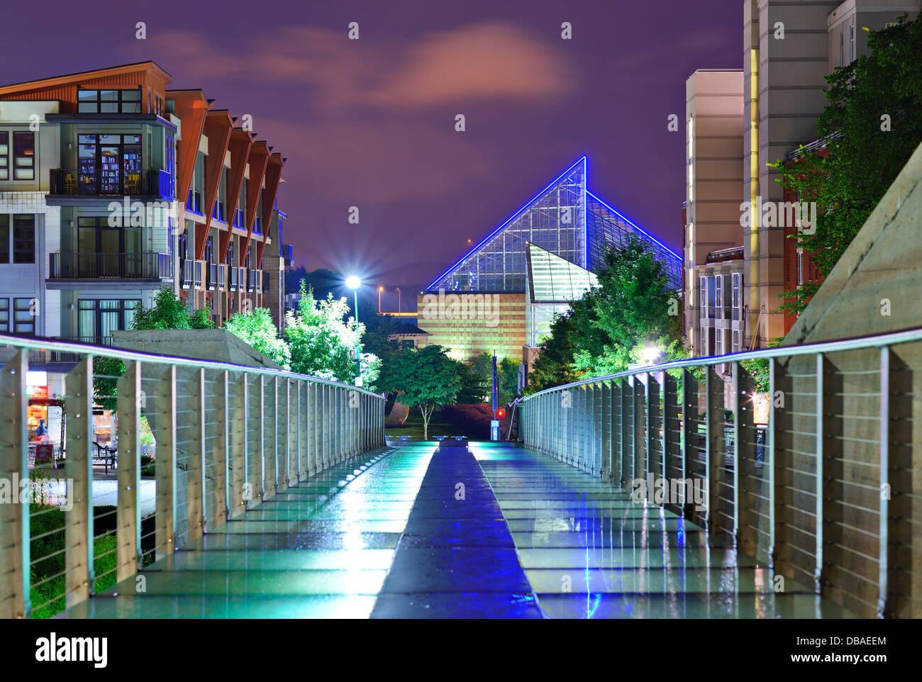 Scena urbana nel centro cittadino di Chattanooga, Tennessee, Stati Uniti d'America. Immagini Stock