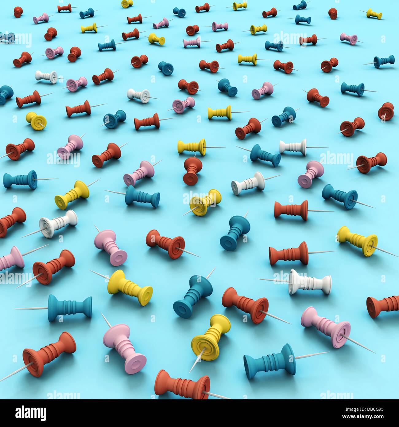 Illustrazione dei vari multi colorata chiodini pollice su sfondo blu Immagini Stock