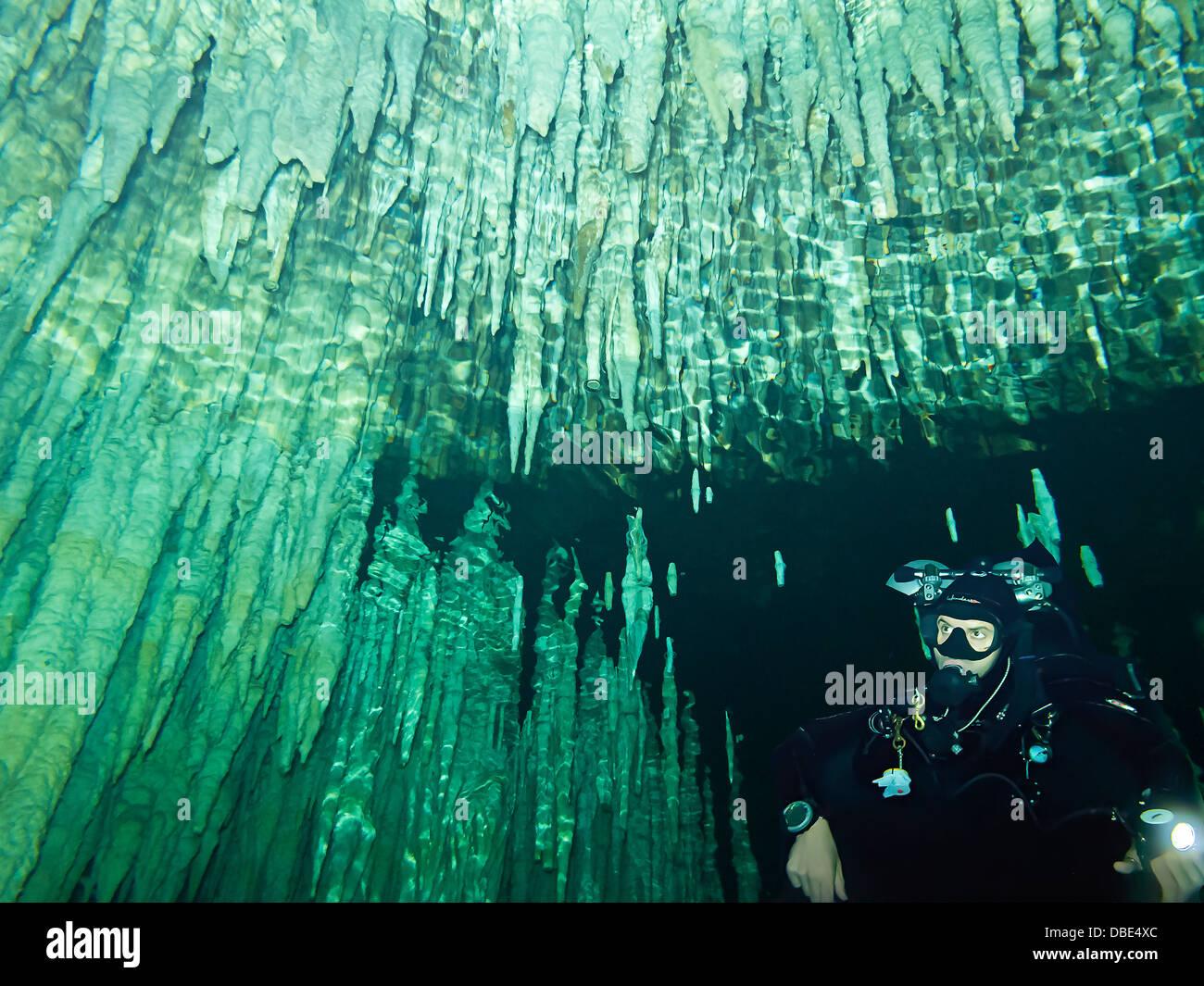 Subacqueo con picchi di stalattiti pendenti dal soffitto del sogno di gate, una delle tante persone cenotes immersioni Immagini Stock