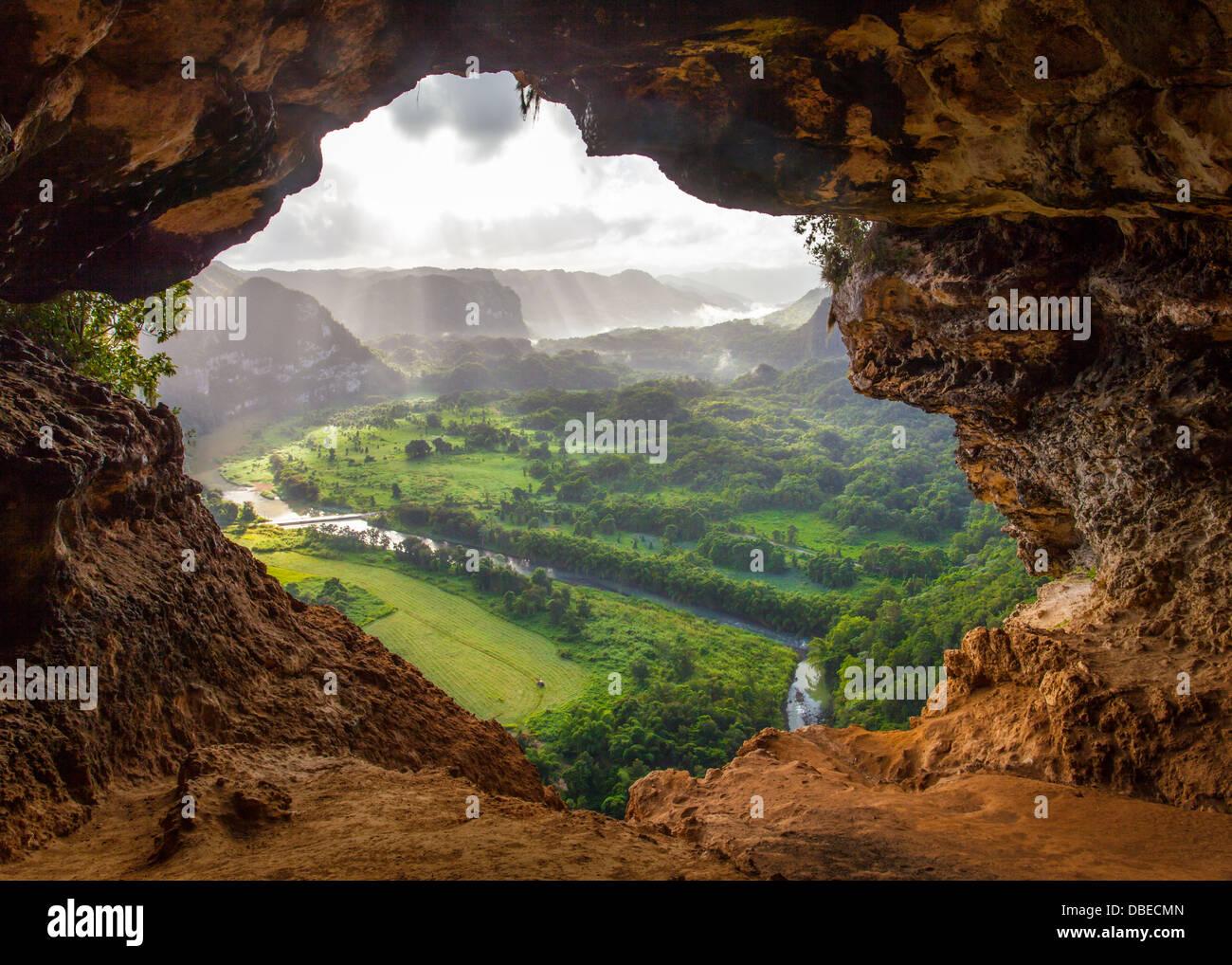Vista dall'interno della Cueva ventana (finestra) grotta nei pressi di Arecibo, puerto rico Immagini Stock