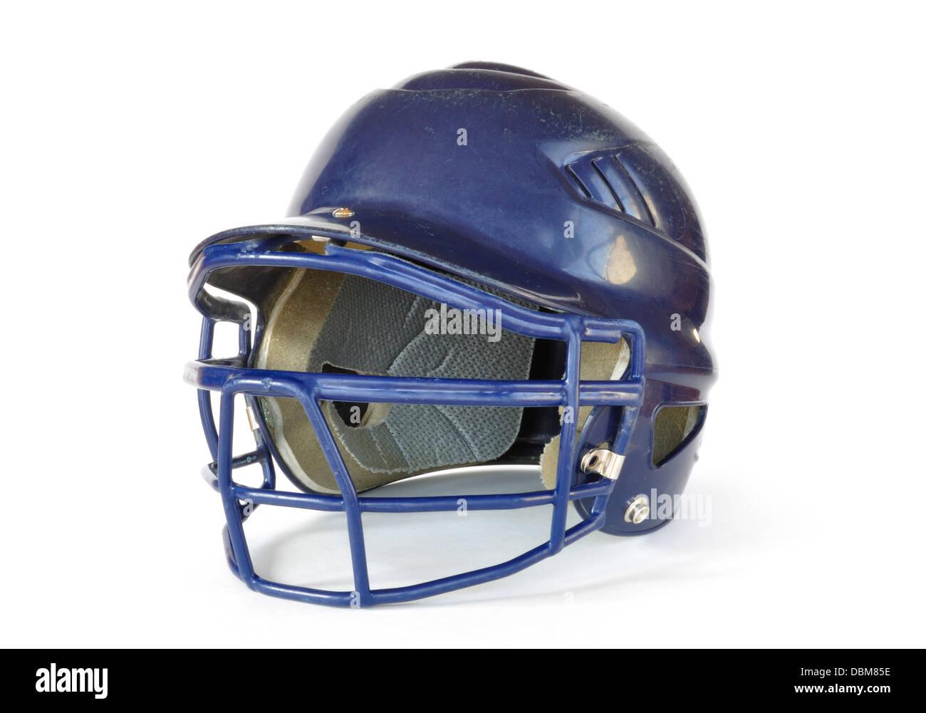 Il baseball blu casco con una maschera facciale Immagini Stock