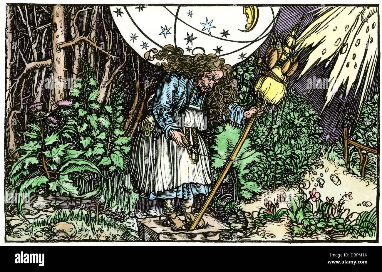Vecchia cameriera di strega, da un 1537 Traduzione in Tedesco di Boezio. Colorate a mano la xilografia Immagini Stock