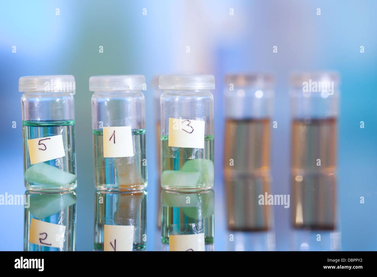 Campioni in fiale in plastica per microscopia e tessuto di biopsia . laboratorio biologico Immagini Stock