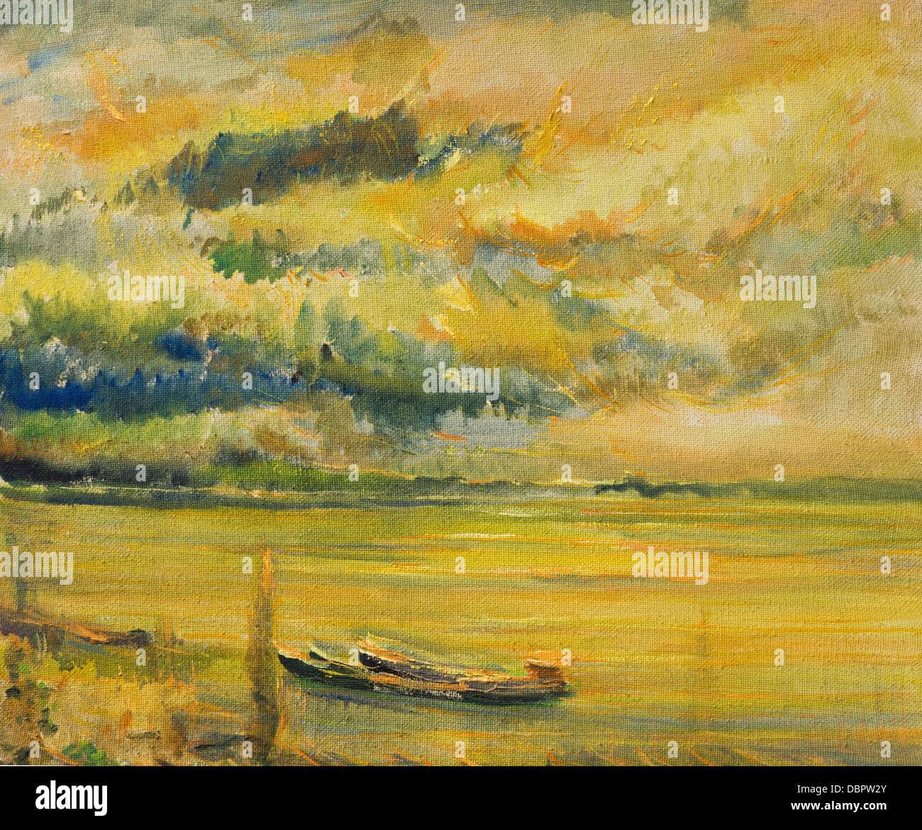 Un dipinto ad olio su tela di un colorato luminoso giallo tramonto sul fiume Danubio con due navi vicino alla riva Immagini Stock