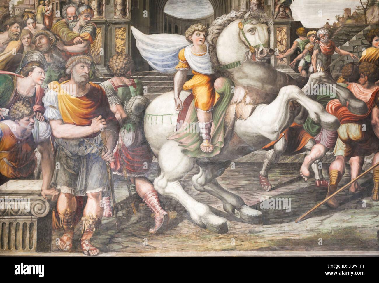 Alexander addomesticare Bucephalus, del Sodoma, affresco, Villa Farnesina, Roma, Italia Immagini Stock