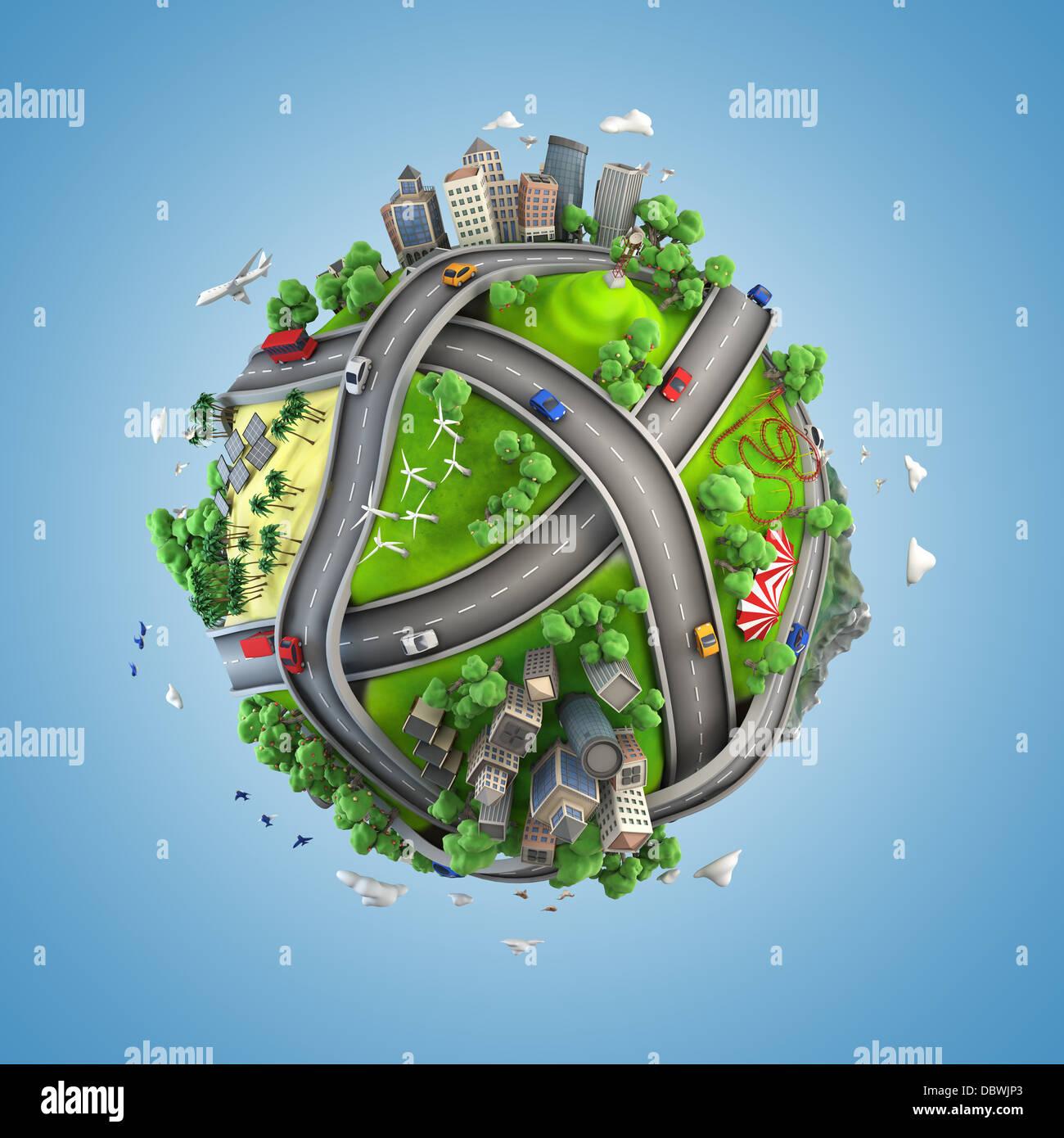 Concetto globe che mostra la diversità, di trasporto e di energia verde in un stile cartoony Immagini Stock