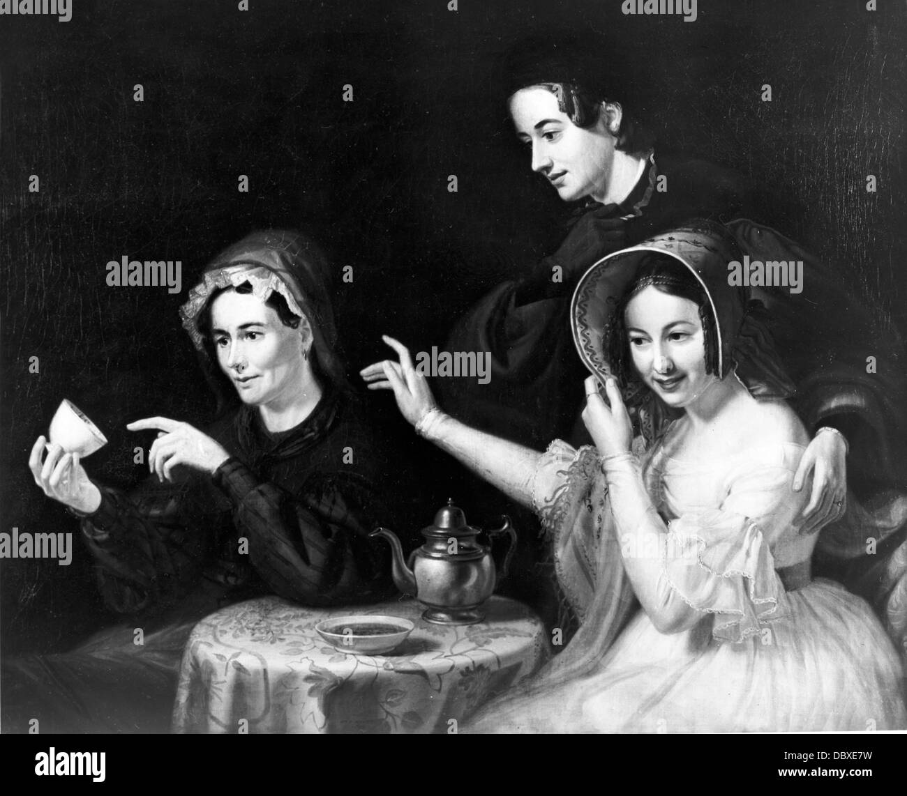 1800s 1838 dipinto da William Sydney MOUNT INDOVINO la lettura di foglie di tè per due donne Immagini Stock