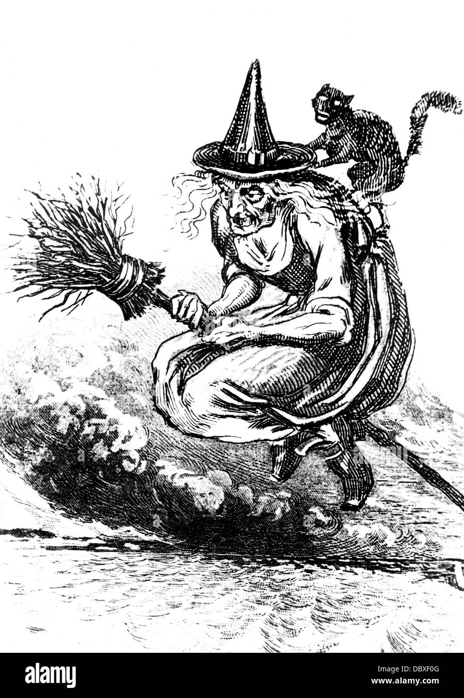 Incisione di brutto vecchio strega scopa di equitazione con un gatto nero sulla sua schiena Immagini Stock