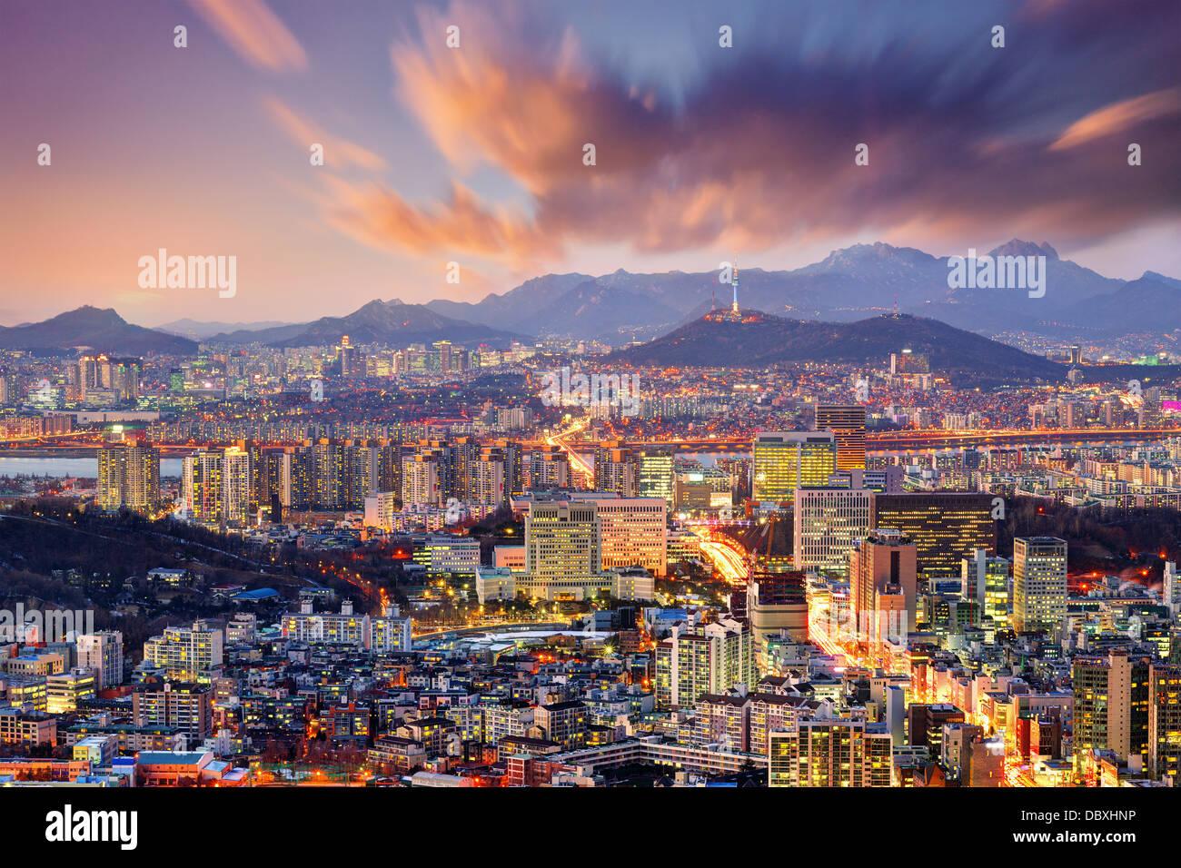 Downtown di Seul, Corea del Sud, Stati Uniti d'America. Immagini Stock