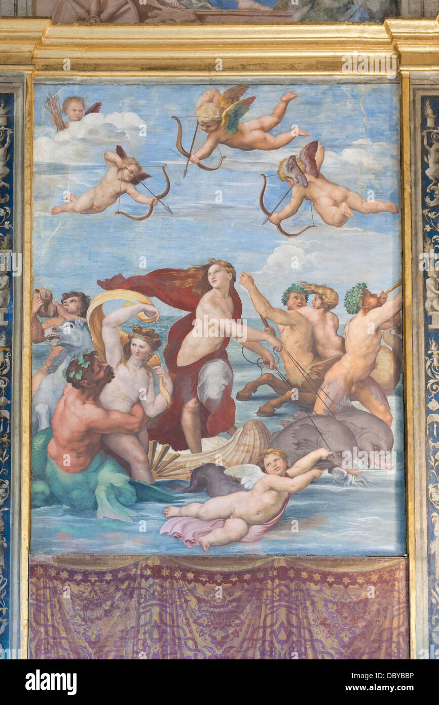 Il Trionfo di Galatea, Raffaello,affresco, Villa Farnesina, Roma, Italia Immagini Stock