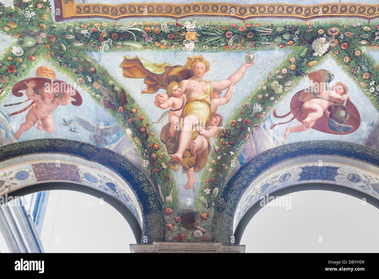 Psiche è a carico di Olympus di Raffaello, Villa Farnesina, Roma, Italia Immagini Stock
