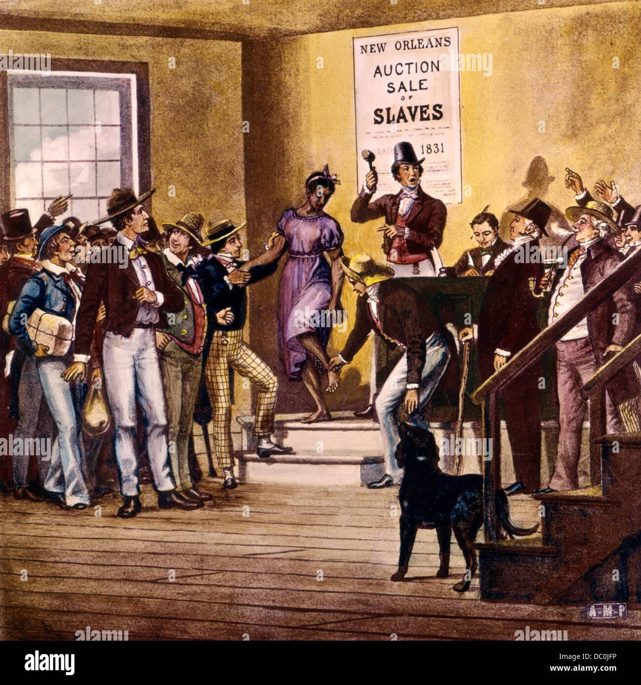 1830s 1831 ABRAHAM LINCOLN OSSERVANDO NEW ORLEANS mercato di schiavi VENDITA ALL'ASTA da colorate a mano vetro antico Foto Stock