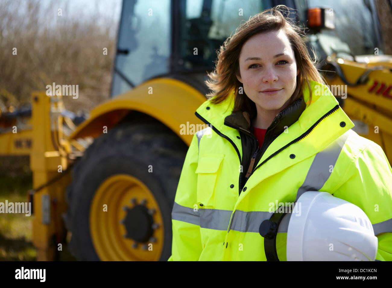 Ritratto di donna project manager sul sito in costruzione Immagini Stock