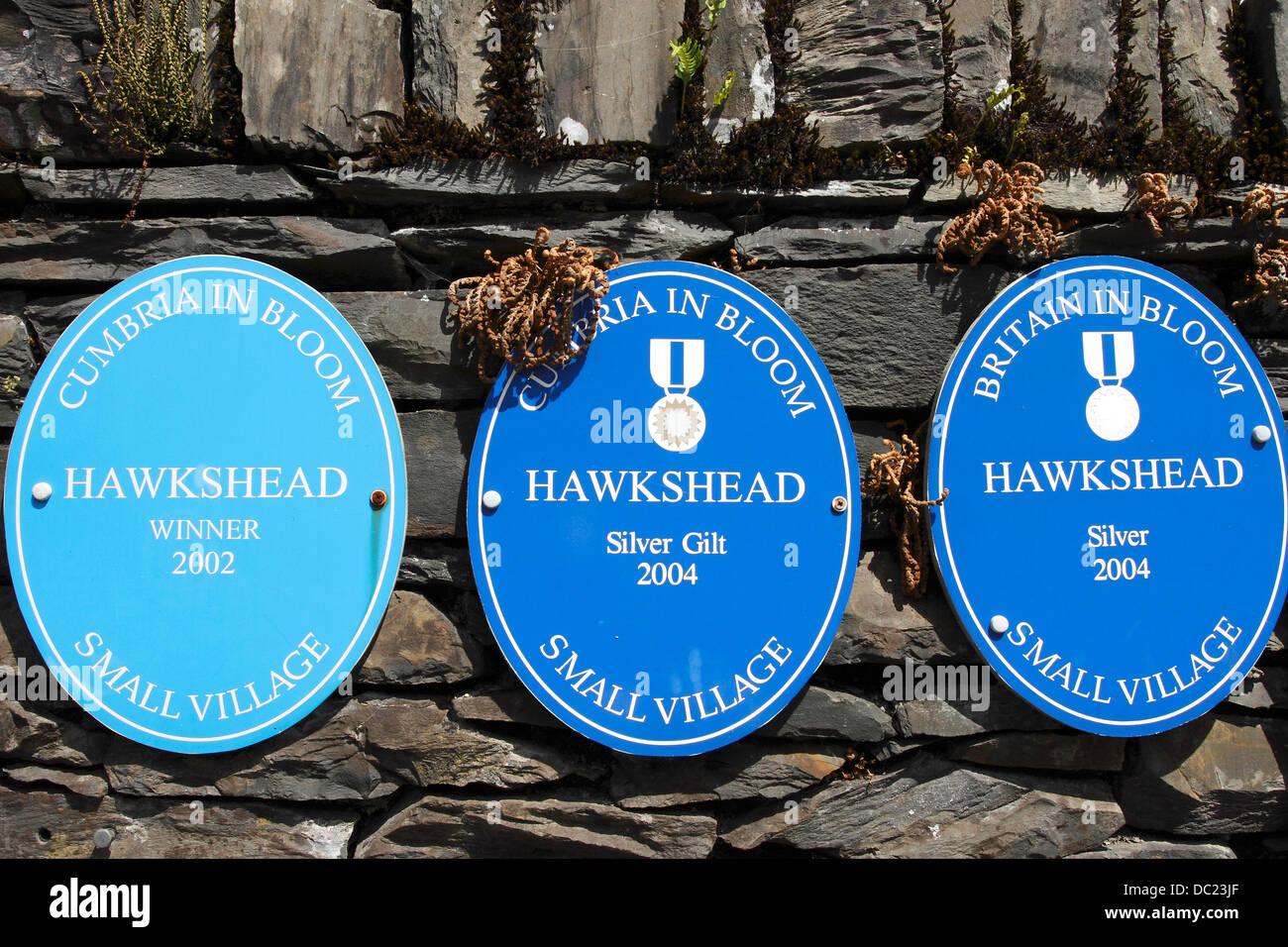 Le placche su una parete nella bellissima Lakeland Village di Hawkshead mostrando il successo in Cumbria e Gran Immagini Stock