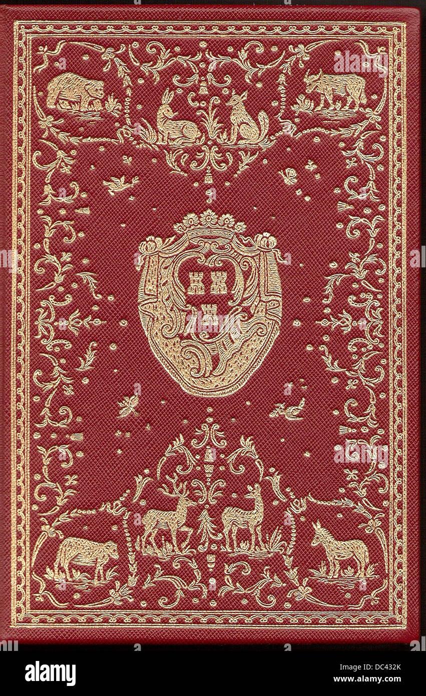 Rilegatura di un volume di La Fontaine favole, con il CoA di Madame de Pompadour. La modifica del 1755 Immagini Stock