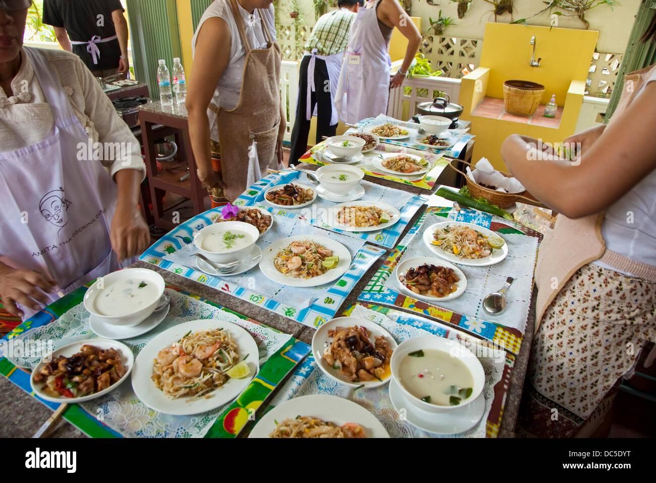 Thailandese Scuola di Cucina Tailandese Amita Cooking class Bangkok in Thailandia. Immagini Stock
