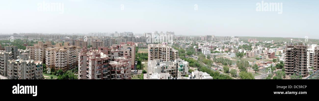 Vista panoramica sullo skyline di Gurgaon, Haryana, India settore 54 55 Immagini Stock