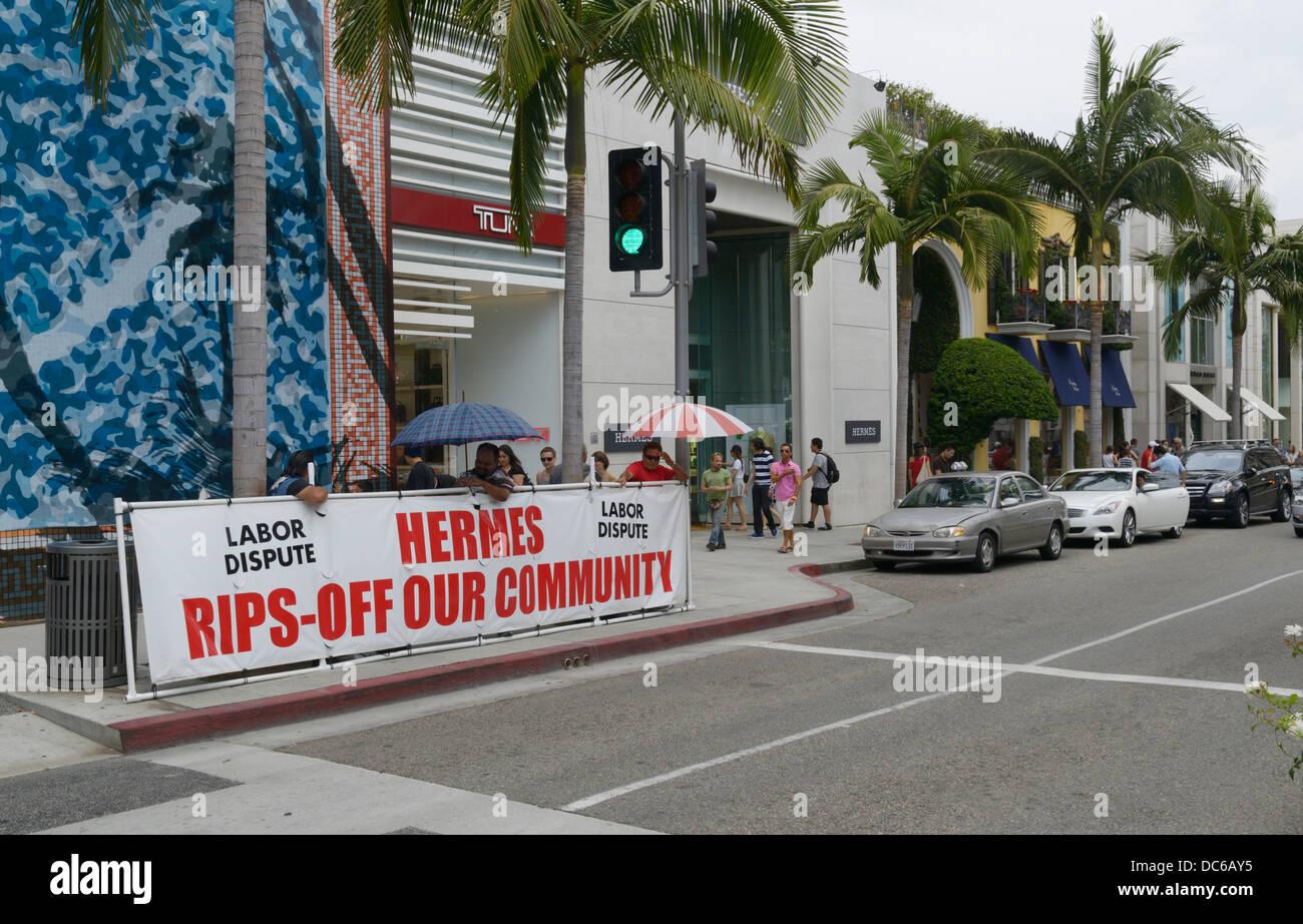 Controversie di lavoro protestare su Rodeo Drive, Beverly Hills, CA Immagini Stock