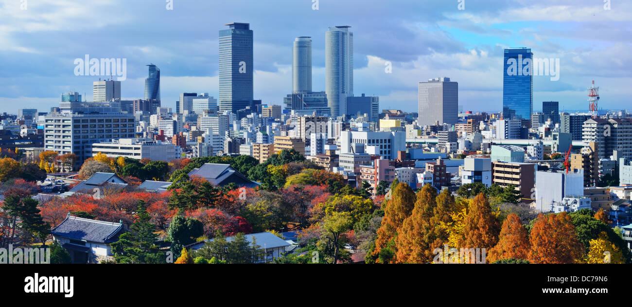 Nagoya, Giappone skyline del centro panorama. Immagini Stock