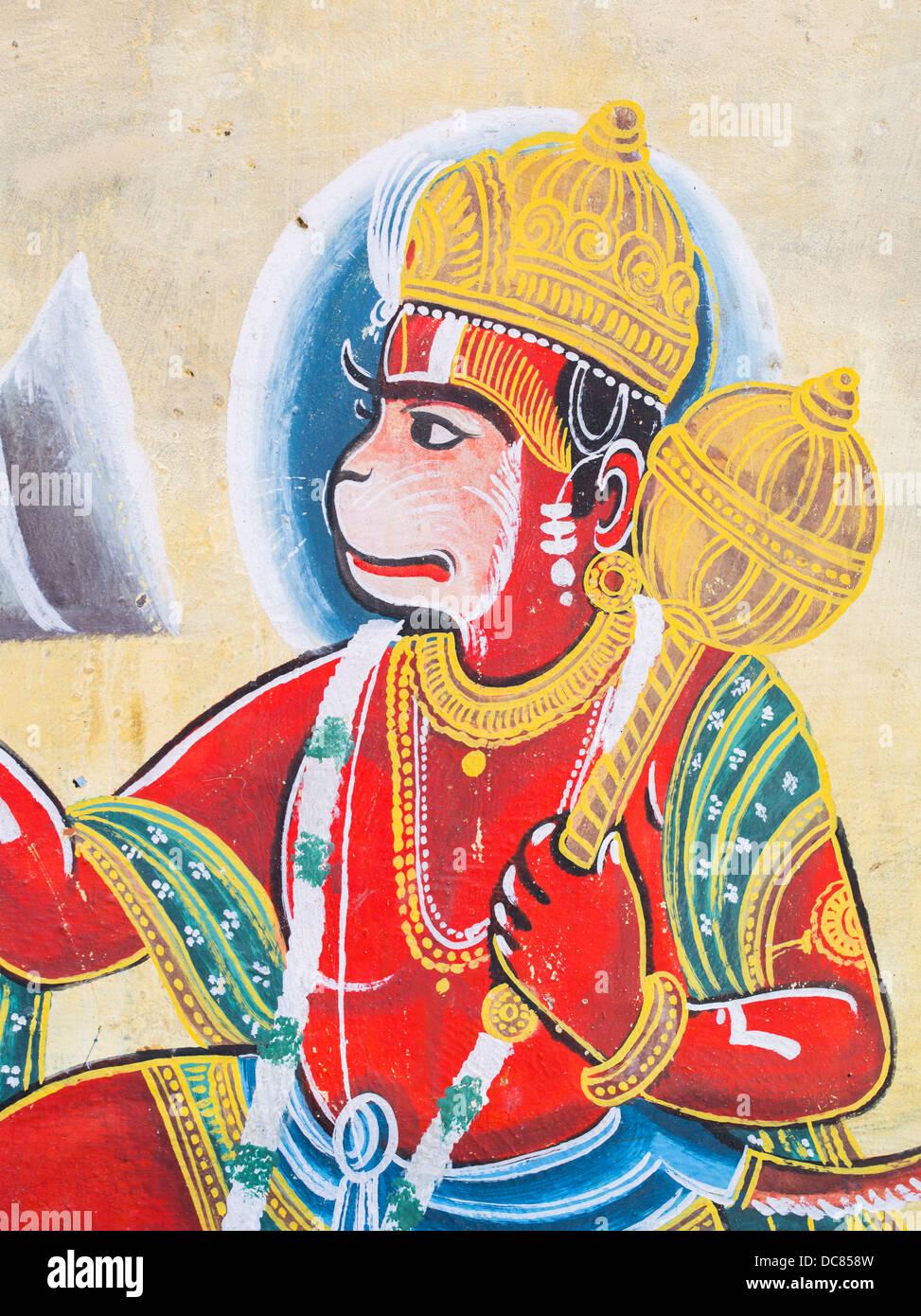 Hanuman, divinità Indù, dipinto murale su edifici situati sulle rive del Gange Fiume - Varanasi, Uttar Immagini Stock