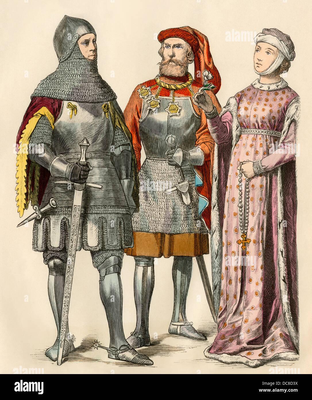 Cavalieri e una signora dei primi 1400s. Colorate a mano la stampa Immagini Stock