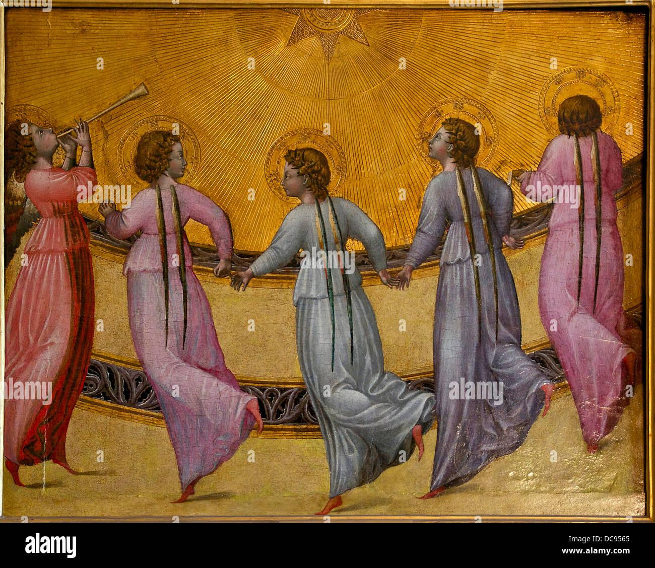 Angeli dancing sun Giovanni di Paolo Condé Chantilly Immagini Stock