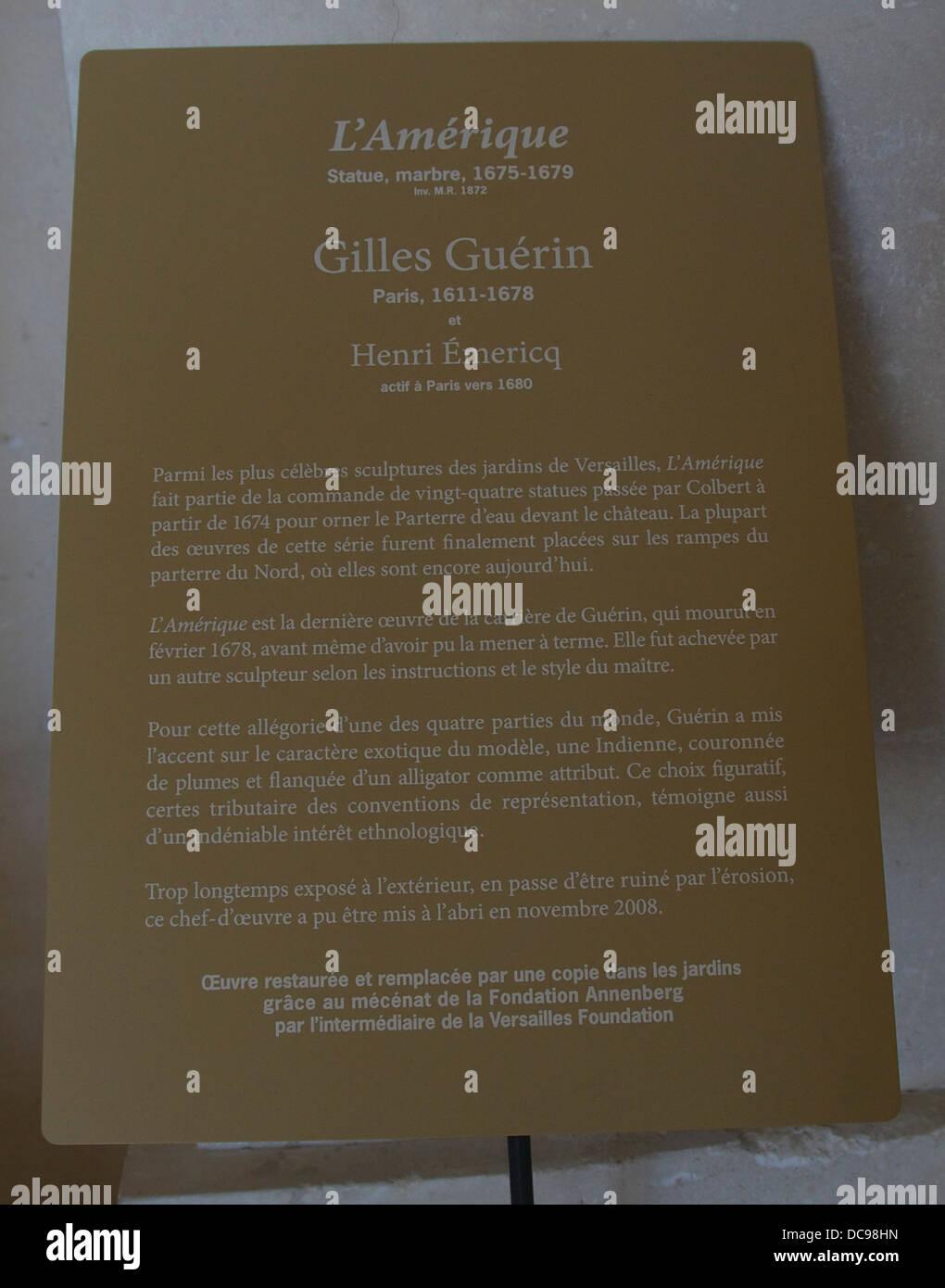 Statua di cartello America da Gilles Guérin. Immagini Stock