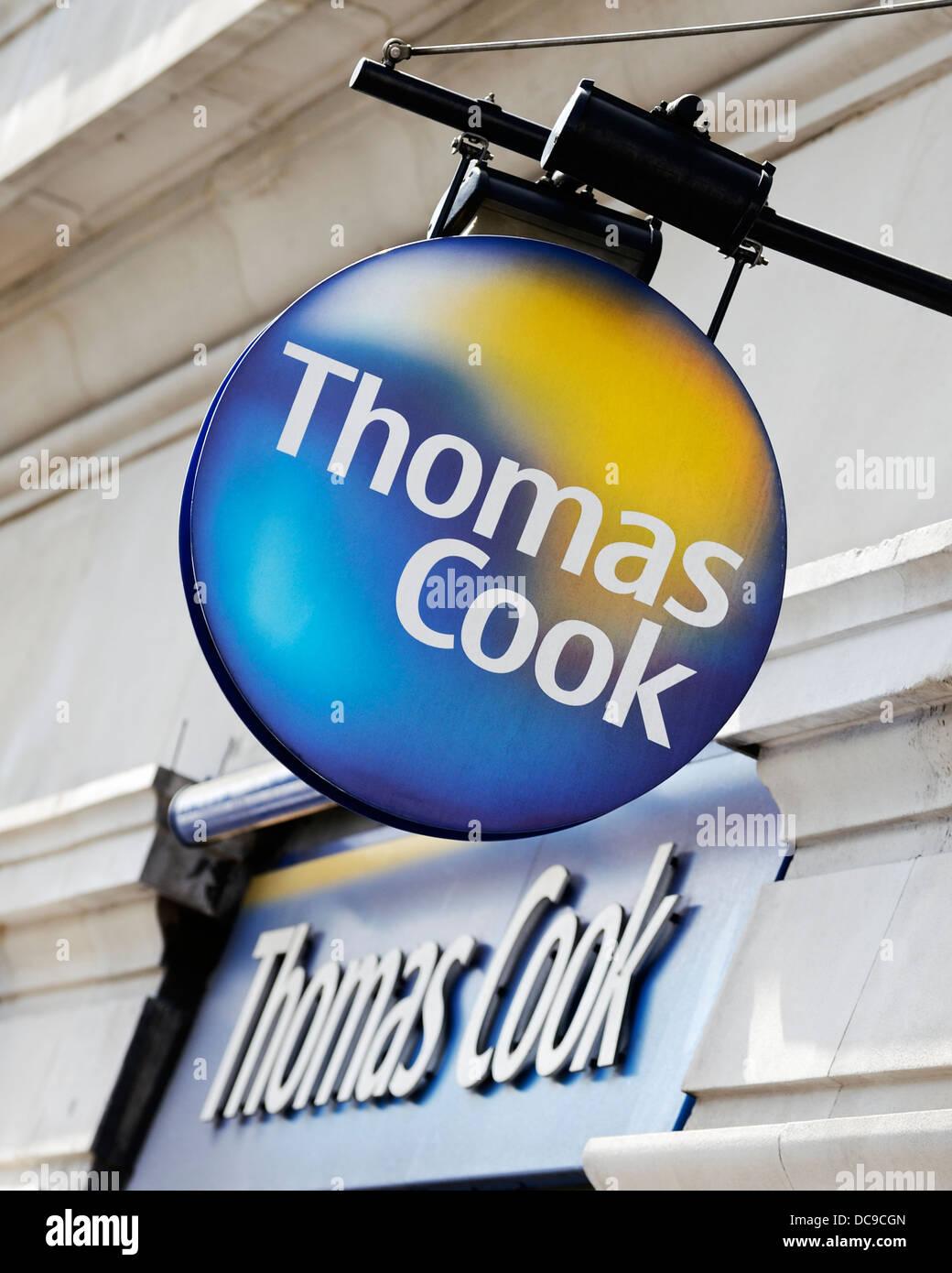 Thomas Cook Agenti di viaggio shop segno, Marble Arch, Londra, Regno Unito. Immagini Stock