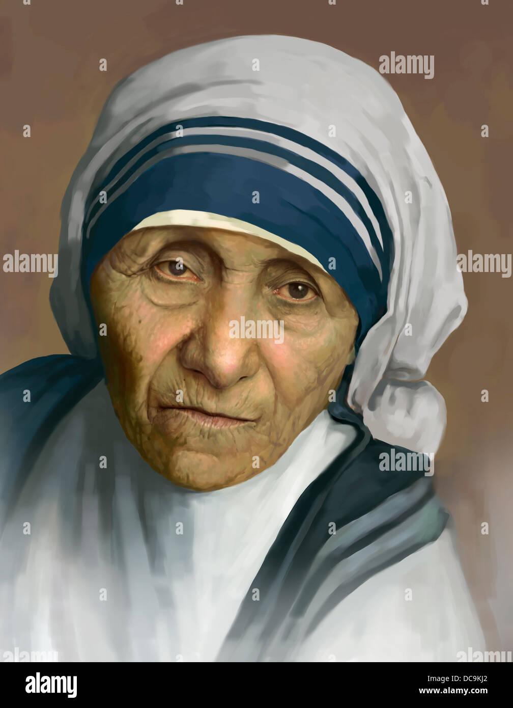 Un ritratto dipinto di Madre Teresa Immagini Stock