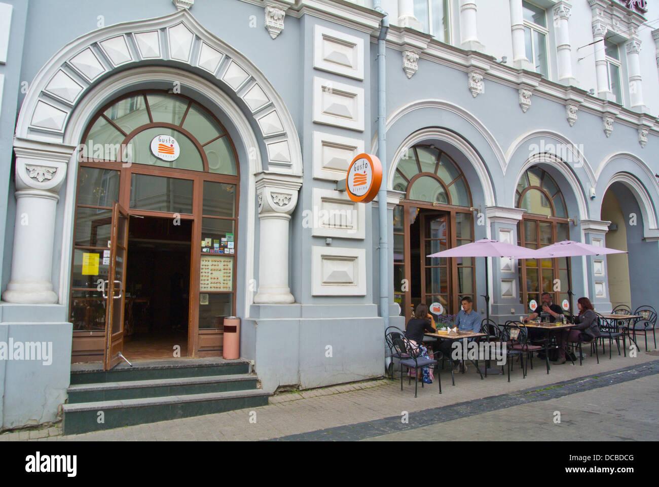 Gusto Ristorante pancake città vecchia Vilnius Lituania Europa Immagini Stock
