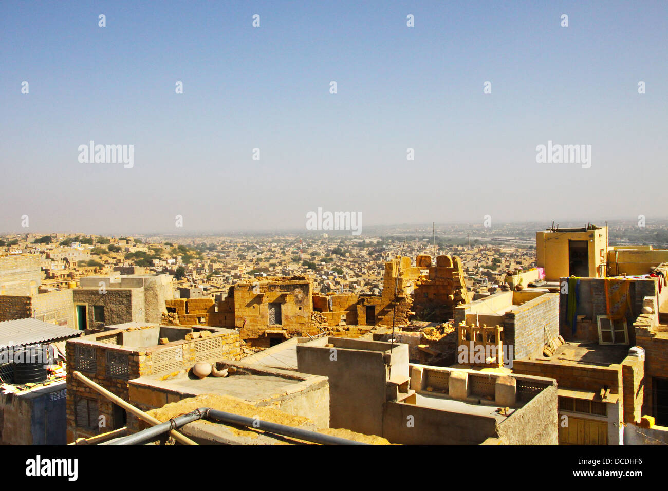 La città di Jaisalmer è in dessert Thar in Rajastan, India ed è stata fondata dal re Rajput Majaraja Immagini Stock