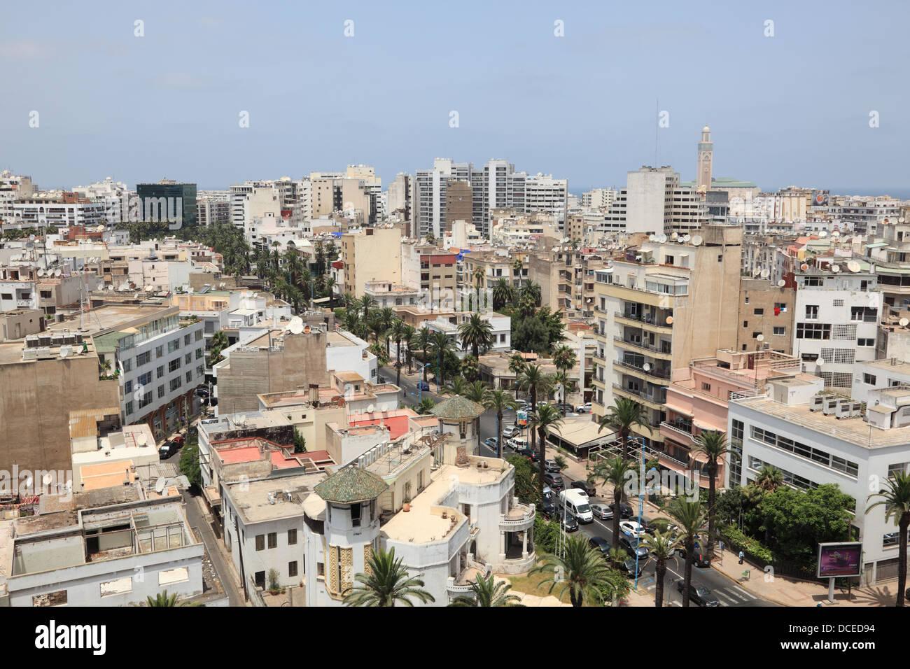 Vista sulla città di Casablanca, Marocco Immagini Stock