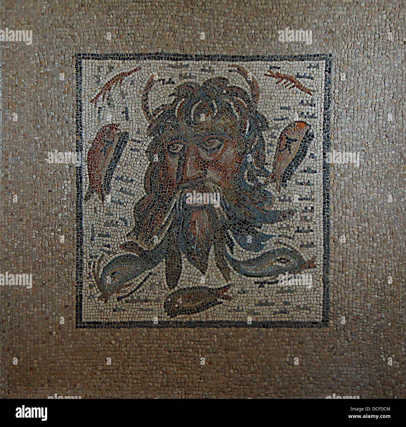 Mosaico di Okeanos, II III secolo D.C., scavato nel 1959. Alcazar de los Reyes Cristianos, Cordoba, Spagna Immagini Stock