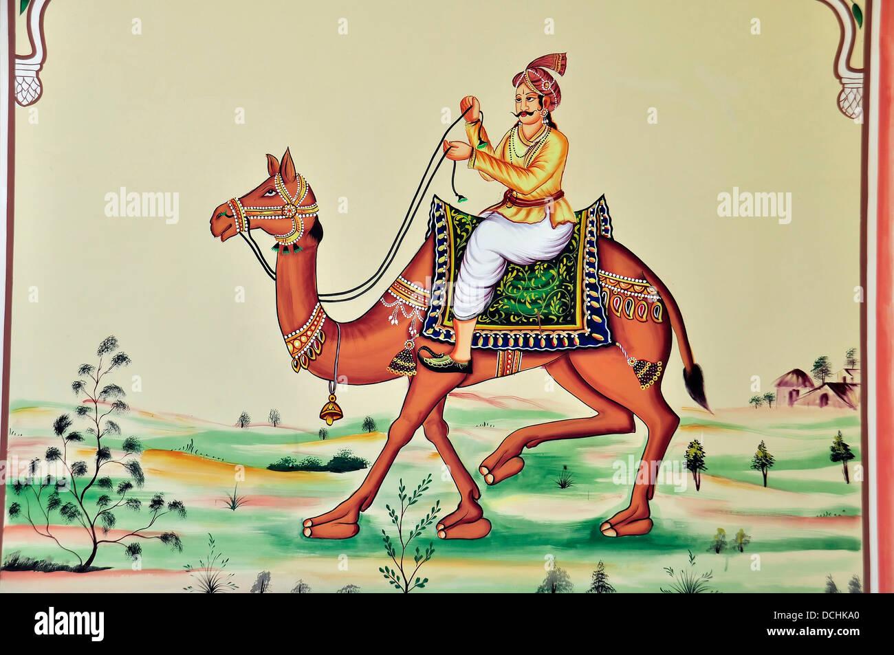 Pittura murale Rajput Warrior Camel Rajasthan in India Immagini Stock