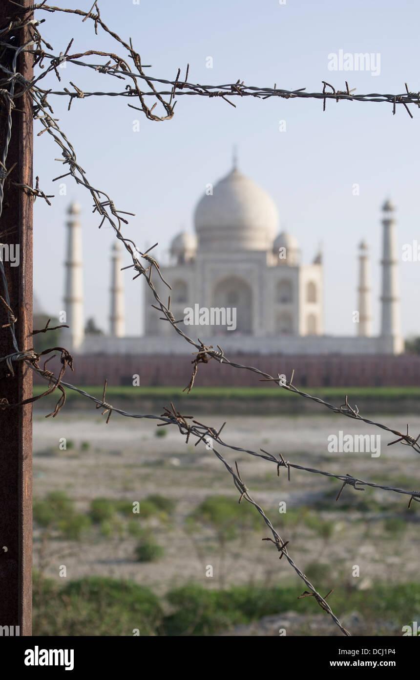 Filo spinato, Taj Mahal bianco mausoleo di marmo - Agra, India un Sito Patrimonio Mondiale dell'UNESCO Immagini Stock