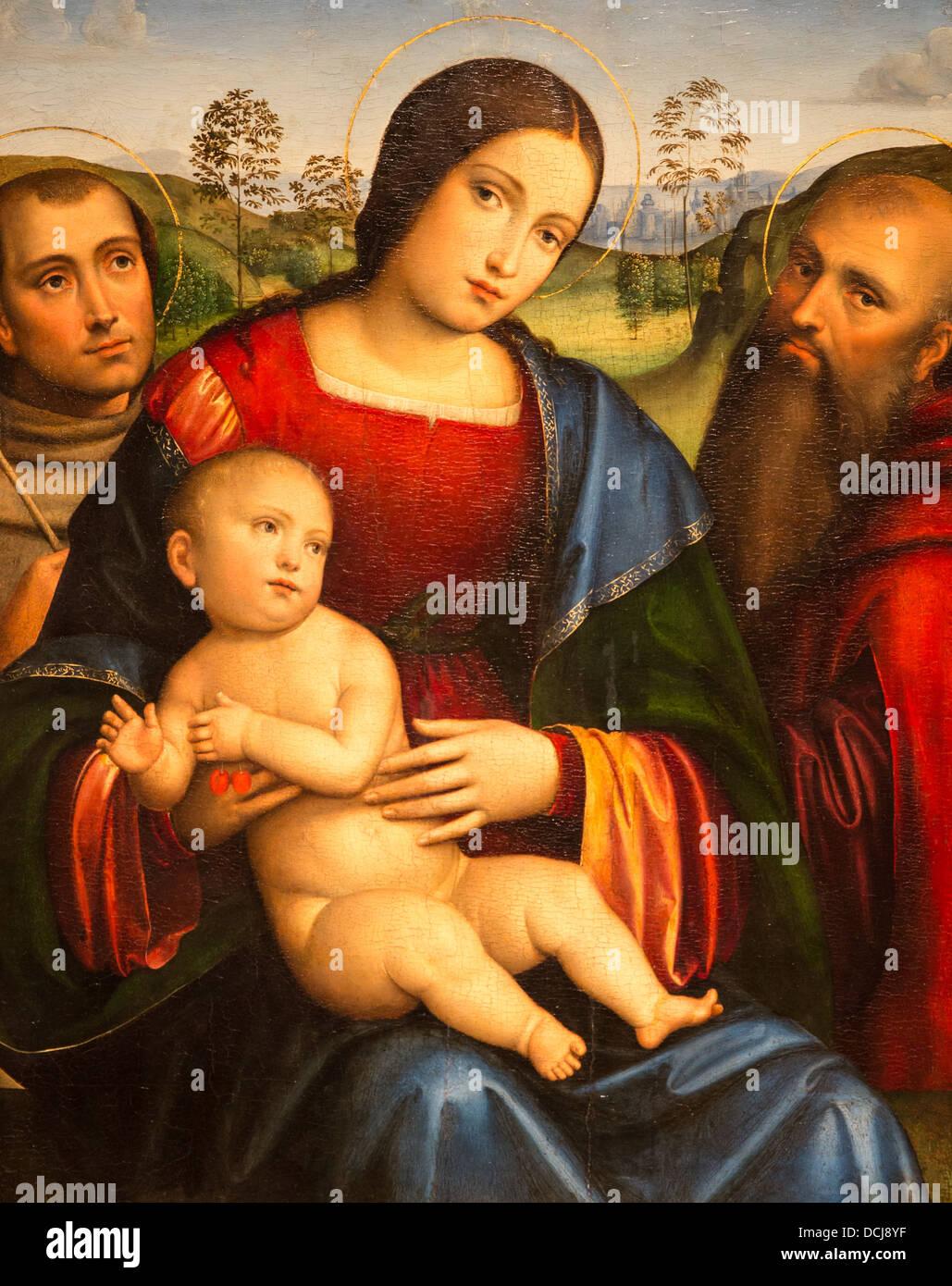 Madonna con Bambino e San Francesco e Girolamo di Francesco Francia - Metropolitan Museum of Art di New York tempera Immagini Stock