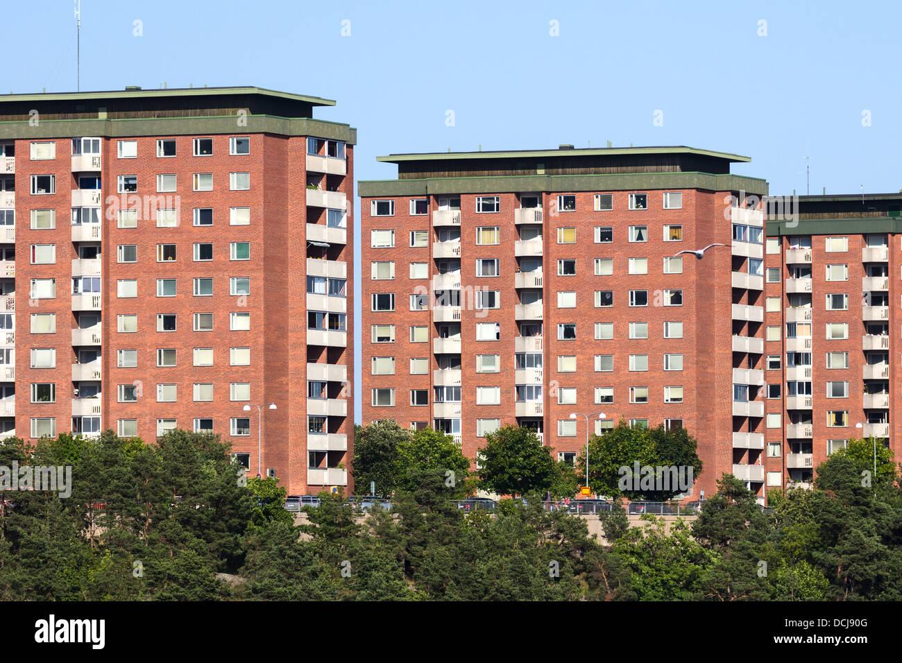 La città di stoccolma i blocchi di appartamenti in svezia foto